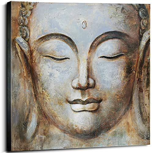 Oil Painting Hand Painted Shakyamuni Buddha Head Zen Buddhism Painting Home Wall Decor Framed Canvas Art for Living Room Buddhas Meditation Tranquil Face Eyes Closed Pictures Office 24
