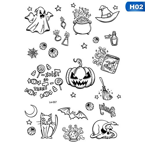 SaveStore Halloween Luminous Tattoo Ghost Taty for Kids Fake Tattoo Witch Glowing in Dark Waterproof Temporary Tattoo Stickers