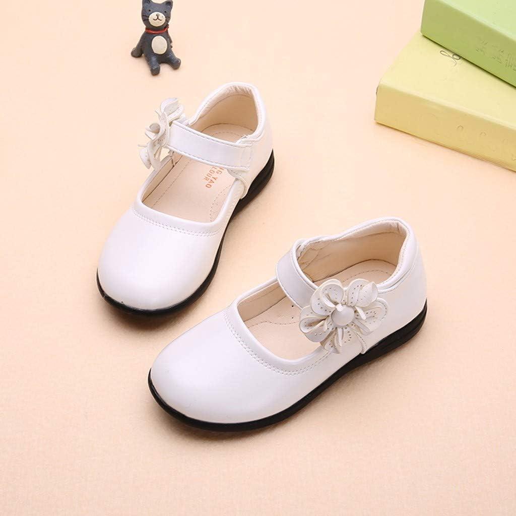 ❤️ Mealeaf ❤️ Children/Kids Baby Girls Flower Perform Dance Princess Single Casual Shoes(White,30)