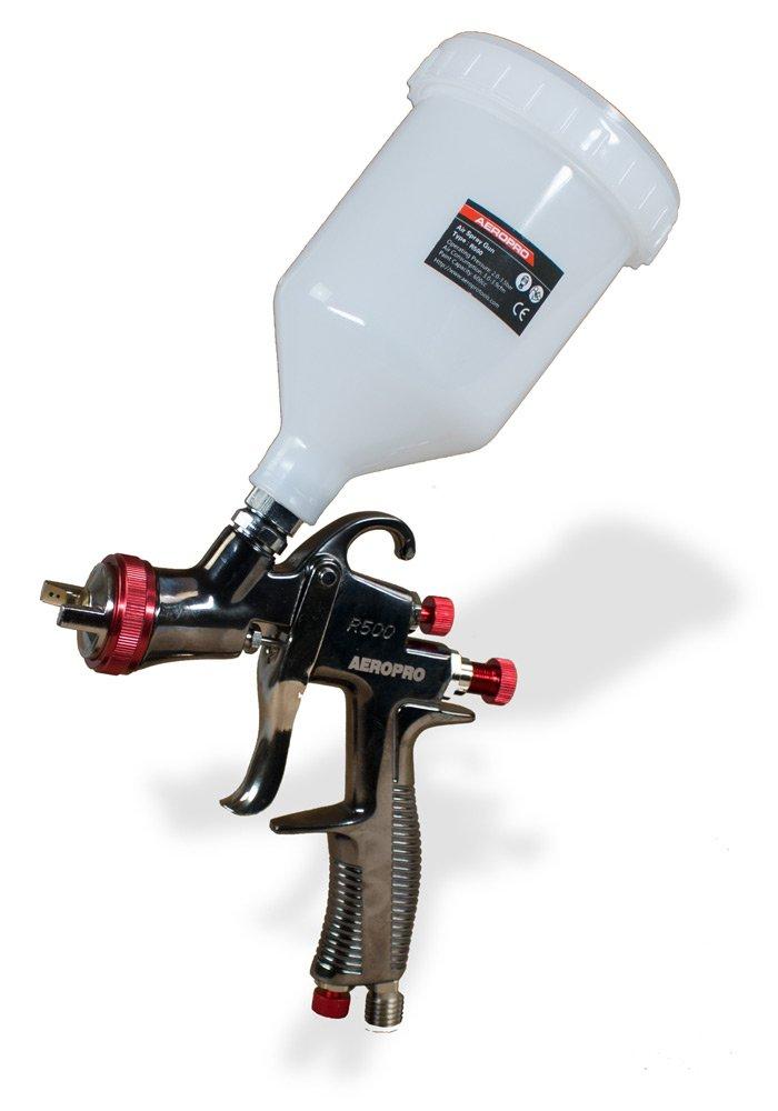 AEROPRO USA R500 LVLP Gravity Feed Air Spray Gun, 1.5 mm Nozzle