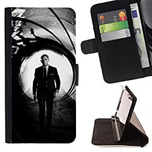 KingStore / Leather Etui en cuir / Samsung Galaxy Core Prime / Daniel Craig Bond
