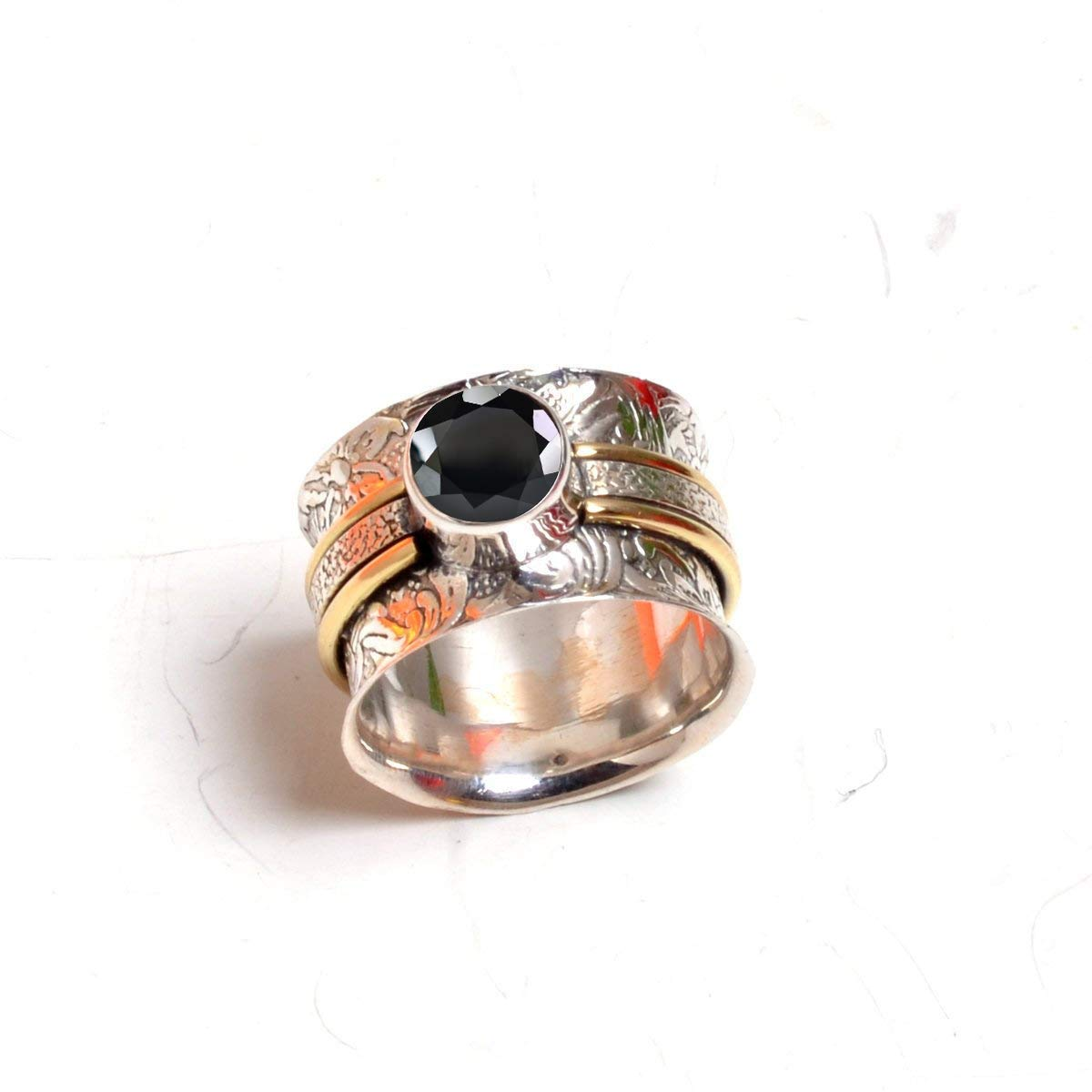 Thumb Spinner Ring 925 Sterling Silver Meditation Anxiety Handmade Band Jewelry