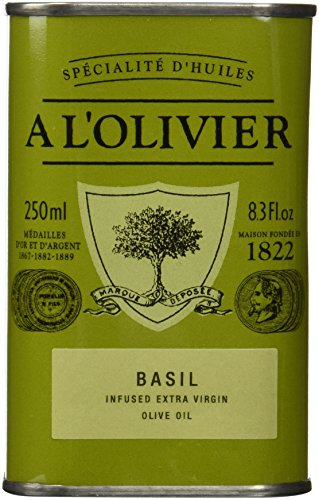 A L'Olivier Olive Oil Infused with Basil, 8.3 Ounce Tin