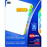 Avery Style Edge Plastic Insertable Dividers for 3 Ring Binders, 8 tabs, Multi-colour, 1 Set, (11201)
