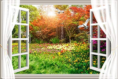 YEELE White Window Interior Backdrop 10x8ft Big Window with Garden Meadow Panorama Photography Background Classic Home and House Design Wedding Videos Adults Artistic Portrait Photoshoot Props