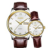 OLEVS Valentines Couple Pair Quartz Watches Luminous Calendar Date Window 3ATM Waterproof Casual Stainless Steel Cowhide Leather Band His and Hers Wristwatch for Men Women Lovers Wedding Romantic Gift