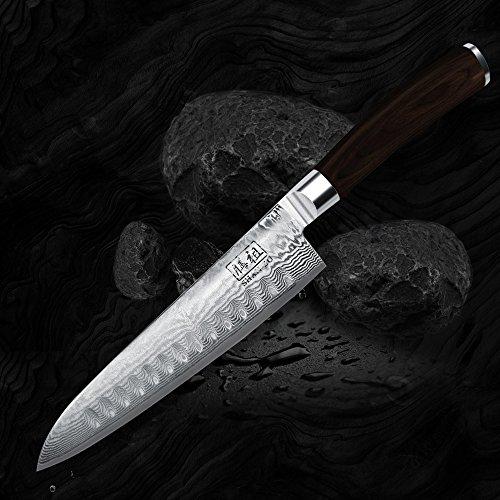 Cuchillo de damasco shan zu japonesa 8 39 hoja de acero - Cuchillo de cocina acero damasco ...