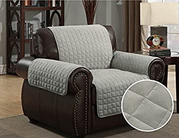 Reversible Microfiber Furniture Sofa Cover Chair Throw Pet Dog Kids  Protector (Chair, Deep Grey