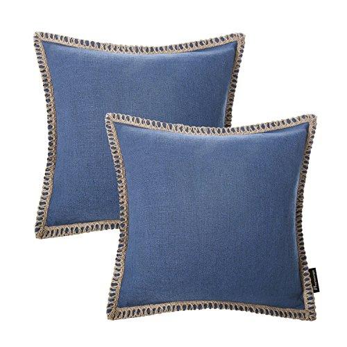 "ve Farmhouse Serious Linen Trimmed Throw Pillow Cushion Cover 18""x 18""45cm x 45cm (Linen Trimmed Blue 2PC) ()"