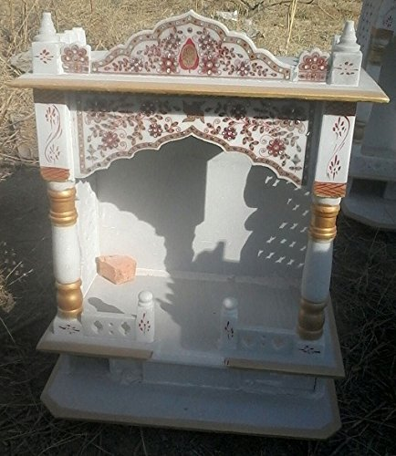 RM 2x2ft White Marble Temple For Home Office Puja Place For New Home Interior Construction inauguration