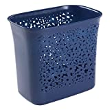 InterDesign 59538 Blumz Wastebasket Trash Can for Bathroom, Kitchen, Office, Navy