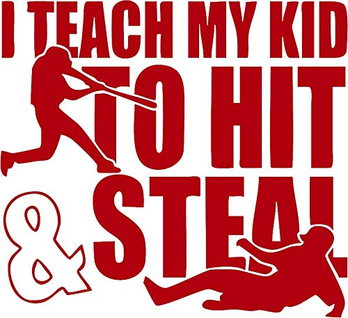 "Family Connections Teach My Kid to HIT and Steel ~ Reflective Red ~ Window/Car / Truck/Boat / Yeti/Laptop / iPhone/Wall Decal with Alcohol PAD~ Size 13.13"" X 12"""