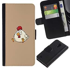 KingStore / Leather Etui en cuir / Samsung Galaxy S4 IV I9500 / La grasa de dibujos animados Divertido Divertido