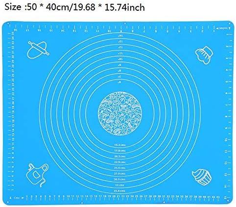 Hanyousheng 50x40cm Antiadherente Estera de Silicona para Hornear,Tapete de Silicona para amasar y Hornear ,Protector de encimera Azul Reutilizable Tapete de Silicona para amasar y Hornear