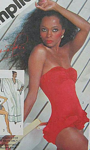 Simplicity 5874 Vintage 80's Misses' Diana Ross Swimsuits and Pullover Caftan, Bathing Suit, One Piece Sewing Pattern