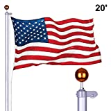 Long World 20FT Sectional Aluminum Flag Pole 3'x5' American Flag & Ball Top Kit Hardware Outdoor Garden Halyard Pole Inground Flagpole (20FEET)