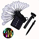 Shareculture Solar Strings Lights 30 LED Water Drop Fairy Lights Solar Powered String Light Christmas Decoration Lights for Outdoor Indoor Gardens,Home,Party,Patio Colorful