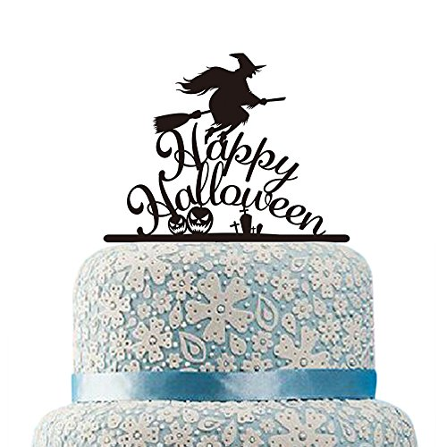 Acrylic Broom Witch Cake Topper Happy Halloween Cake Topper Pumpkin Silhouette Cake Toppers Festival Gift Party Decorations]()