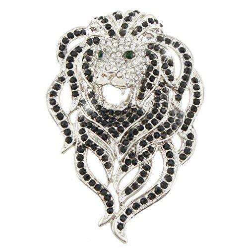 Lion Head Pin (EVER FAITH Austrian Crystal Gorgeous Animal Lion Head Brooch Black Silver-Tone)