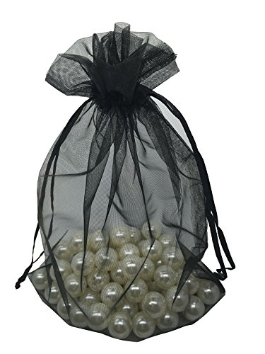 MELUOGE 100pcs 6X9 Inches Organza Drawstring Jewelry Pouches Bags Party Wedding Favor Gift Bags Candy Bags (Black) (Watch Silk Tie)