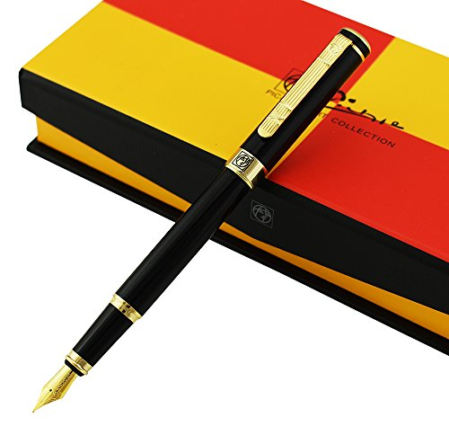 ation Fountain Pen Medium Nib Point, Awesome Apperance, Vivid Black Collection Signature Gift Pen ()