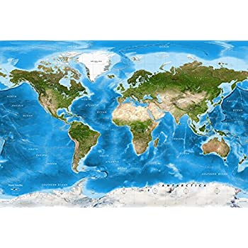 Academia maps world map wall mural detailed satellite image blue academia maps world map wall mural detailed satellite image blue ocean map premium gumiabroncs Images