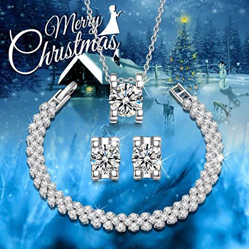 Qianse AAA Zircons Pendant Necklace Stud Earrings Tennins Bracelet Bridal Jewelry Set for women