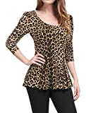 Allegra K Women's Leopard Prints Stretchy Long Sleeves Peplum Shirt L Beige Black