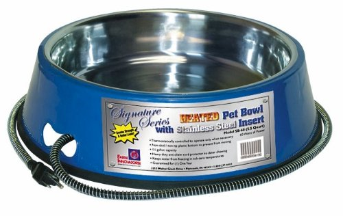 Farm Innovators Dog Bowl - Farm Innovators Model SB-60 5-1/2-Quart Heated Pet Bowl with Stainless Steel Bowl Insert, Blue, 60-Watt