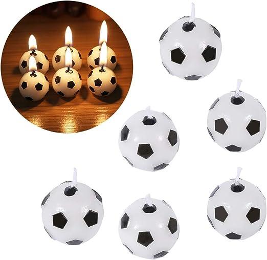 Nikou 6pcs Titular de balón de fútbol - Velas de la Torta de la ...