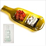 Who's Glass Handmade Recycled Wine Bottle Glass Deli Dish for crisps and dip, nibbles, chocolates Serving Board - Clear