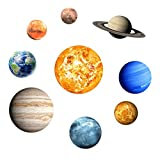 Dingtuo DIY Wall Stickers 9 Planets Solar System Wall Decals Removable Wall Art Murals for Kids Nursery Bedroom Living Room Home
