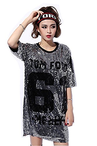 Antique Style Womens Fashion Sparkle Glitter Sequins Paillette Hip Hop Shirt Tank Top Loose Dancing Tees Silver]()