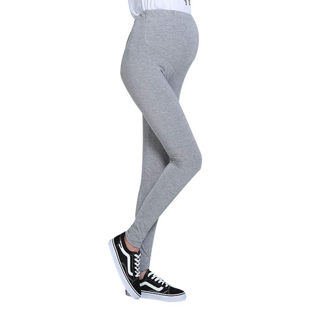 Ocamo Maternity Pregnant Women Leggings Soft Trousers Dark Gray One Size
