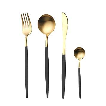 4 Pieces Stainless Steel Tableware Set Flatware Cutlery Set Including Steak Fork Spoons Knife Dinnerware Anti