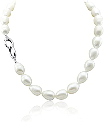 """Natural Pearls Beautiful 7-8mm White Freshwater Pearl Rice Necklace 18/"""""""