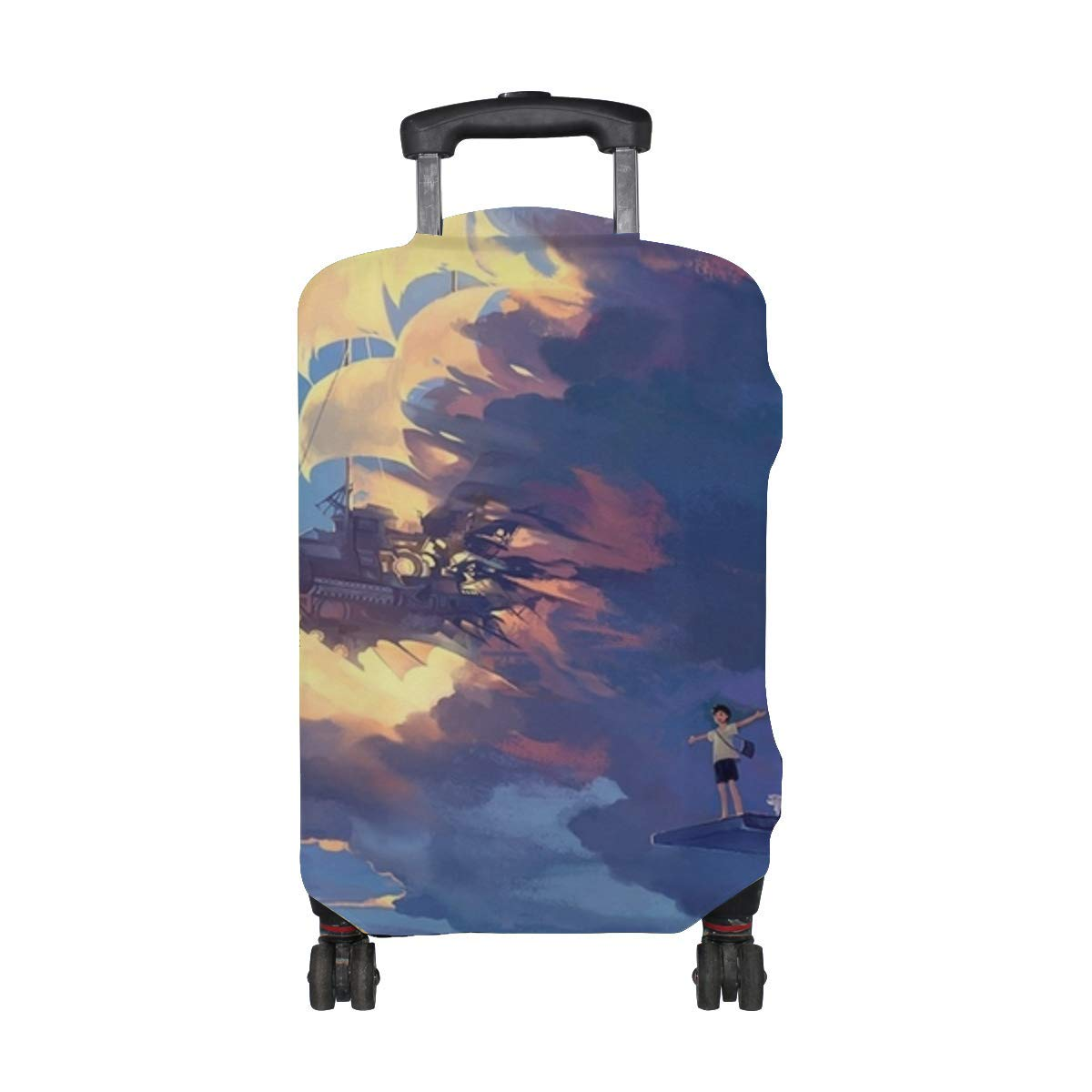 Maxm Hanyijie Sky Scenery Ship Anime Art Pattern Print Travel Luggage Protector Baggage Suitcase Cover Fits 18-21 Inch Luggage