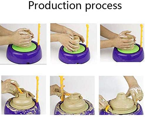 Riiai Mini Pottery Wheel Machine,1500RPM Electric Turntable Fingertip DIY Clay Tool with Tray for Adults Kids Ceramics Art Craft