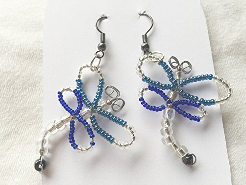 - Dark Blue and Blue Green Seed Bead Dragonfly Earrings