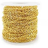 CleverDelights Rolo Chain Roll - 30 Feet - Gold Color - 3x4mm Link - Bulk Oval Chain Spool