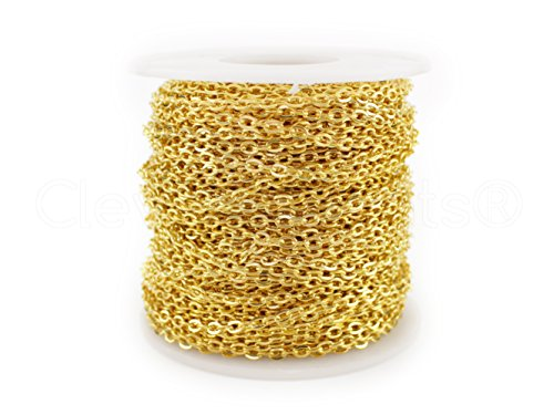 (CleverDelights Rolo Chain Roll - 100 Feet - Gold Color - 3x4mm Link - Bulk Oval Chain Spool)