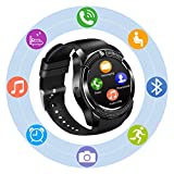 Smart Watches, Bluetooth Smart Watch SN08 Unlocked Watch Phone can Call and Text with Touch Screen Camera Notification Sync for Android SamSung Huawei HTC LG Xiaomi Sony and IOS iPhone Men Women Kids (Black)