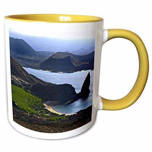 3dRose Kike Calvo Galapagos - Panoramic view from top of Bartolome reveals a volcanic landscape of lave flows Galapagos Ecuador - 11oz Two-Tone Yellow Mug (mug_10150_8)