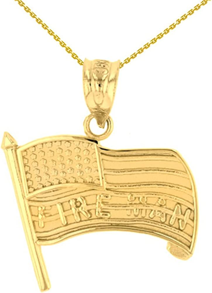 Fine 14k Yellow Gold Fire Man US American Flag Charm Pendant Necklace