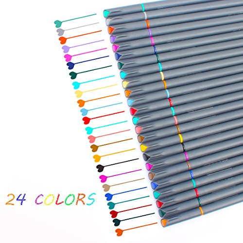 24 Bullet Journal Pens Set, 0.38mm Colored Fine Point Calligraphy Writing Drawing Markers Fineliner Pen for 2018 Planner Coloring Book Taking Note Calendar by Niutop