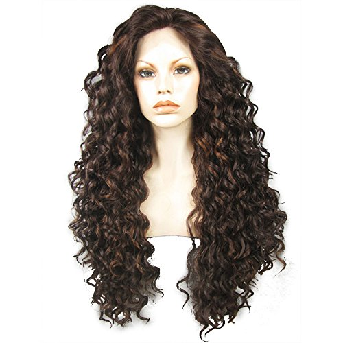 Ebingoo Dark Brown Lace Front Wig for Black Women Long Kinky Curly Soft Synthetic Heat Resistant Fiber Wigs]()