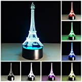 Amazing 3D illusion Effect LED Night Light Eiffel Tower LED Desk Table Night Light Lamp 7 Color Change Acrylic Press Lamp Kids Children Holiday Gift Home Office Baby Room Decoration Night Light