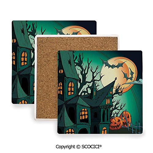 Ceramic Coasters with Cork Base, Prevent Furniture from Dirty and Scratched, Suitable for Kinds of Mugs and Cups,Halloween Decorations,Haunted Medieval Cartoon Bats in,3.9