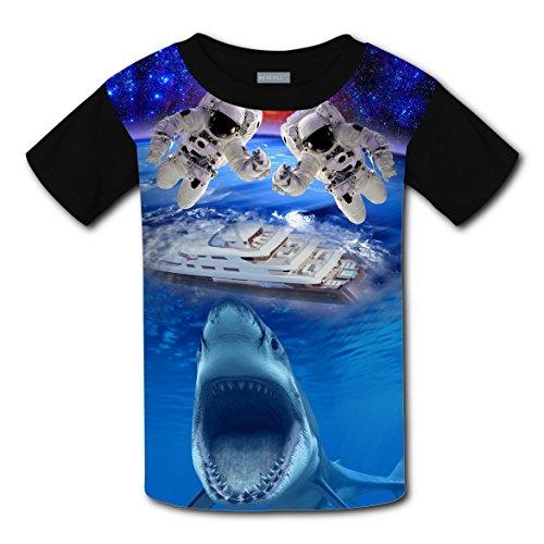 Shark Boy Costume Pattern (Pilot Search Shark Boys Girls Short Sleeve T-Shirt Soft Tee Round Black Tops L)