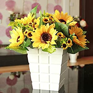 Shineweb 7 Scape Fake Sunflower Artificial Silk Flower Bouquet Home Wedding Floral Decor Pack of 3 2